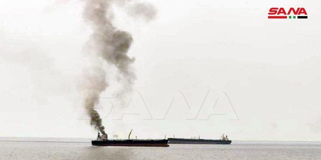 عطل فني في أحد محركات ناقلة نفط ترسو في البحر قبالة بانياس.موقع أصدقاء سورية.