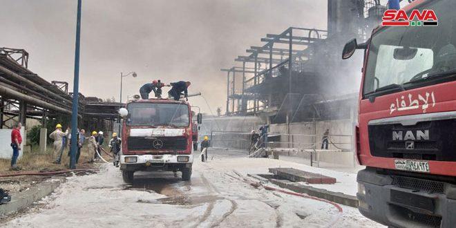 إخماد حريق اندلع بوحدة التقطير 100 في مصفاة حمص.موقع أصدقاء سورية.